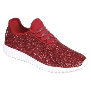 NEW WOMENS RED GLITTER SEQUINS SNEAKERS SHOES FIRM